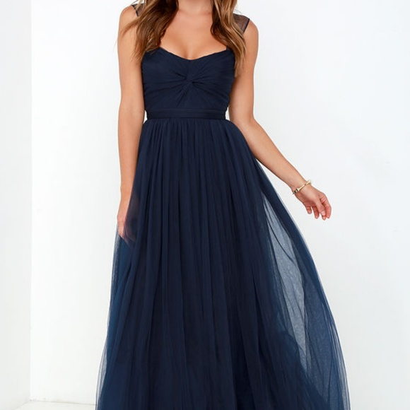 bd8ff316a Lulu's Dresses & Skirts - Lulus Navy Blue Tulle Prom Formal Ball Gown Dress